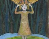 Art Print, Orange Moth, woods, nature, girl