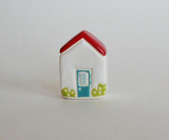 Rose Bush Cottage Little House Miniature house red blue white  tiny building terrarium ceramic pottery ooak