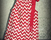 Girls Boutique Pillowcase Dress Red and White Chevron with Large Red Ribbon Bow over one Shoulder