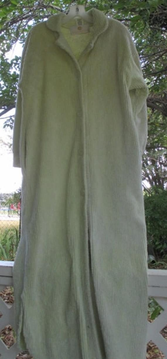 Vintage Robe Chenille Long Floor Length Button Down Pastel
