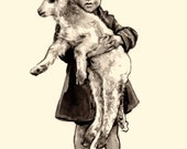 Original Brush and Ink Drawing- Vintage Boy with Lamb