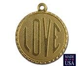Raw Brass LOVE Word Charm Drop with Loop (1) chr190AA
