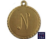 Raw Brass Letter N Initial Charm Drop with Loop (1) chr190N