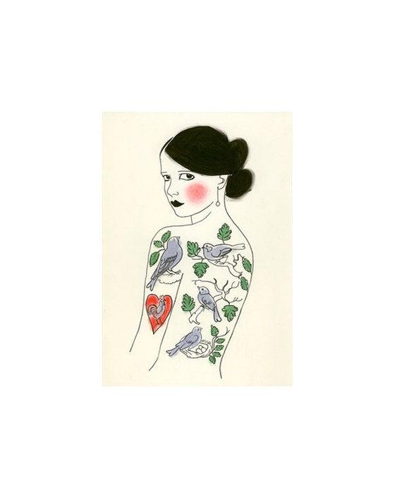 Fashion illustration  The Girl Who Loved Birds -  4 X 6 print - 4 for 3 SALE