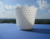 Vintage Hobnail Vase by Fenton - Unmarked - C. 1950s - Bright White - Classic Shabby Chic