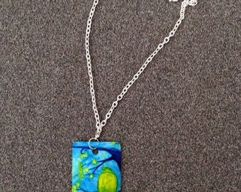 Retablo Folk Art Necklace - Proceeds Benefit Animal Rescue, Bird on Branch, Greens & Blues, Bird in Spring, Dog Tag, Silver Rolo Chain