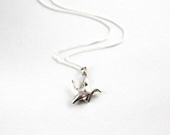 Silver Origami Crane Pendant on Italian Sterling Chain