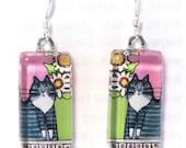 Tabby Cat Earrings/ Longhair Gray Tuxedo Cat Jewelry by Susan Faye