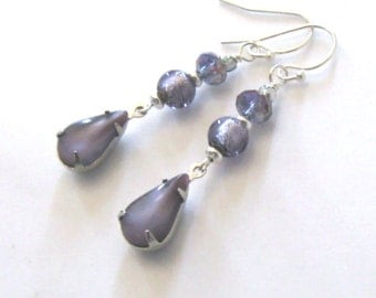Purple Earrings, Moonstone Glass Tear Drops, Vintage Satin Glass, Moonglow, with Lampwork and Crystal Beads