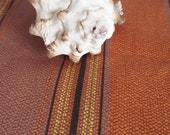 Vintage Cotton Fabric Yardage - Orange and Mushroom Stripe -42 inches wide - 4 Yards