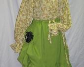 Mori Girl Boho blouse 75% off SALE Steampunk romantic Pirate Boho prarie green one size ladies shirt
