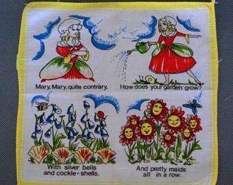 Mary Mary Quite Contrary - Vintage Nursery Rhyme Handkerchief