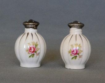 Shabby Chic Porcelain Rose Salt and Pepper Set - Made in Japan - Original Label