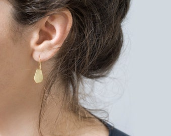 Gold Nugget Earrings, Small Gold Drop Earrings, Gold Dangle Earrings