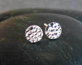 Round Silver Stud Earrings - Hammered Texture Dot Earrings 6mm - Gift under 20 - Silver Circle Studs  - Nickel Free Silver
