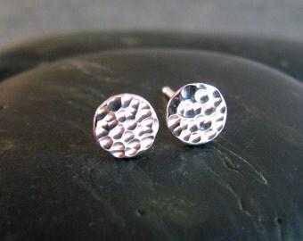 Dot Stud Earrings - Small Hammered Stud Earrings Silver  - 6mm Stud Earrings - Gift For Her - Simple Sterling Silver Stud Earrings