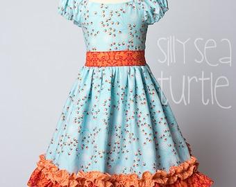 rosebud party dress, Girls dress, twirl skirt dress, rose bud, blue and orange