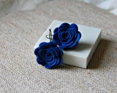 Blue felted wool flower earrings