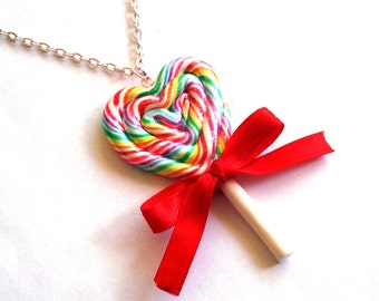 Rainbow Lollipop Necklace Giant Heart Rainbow Lollipop Necklace Statement Candy Kawaii Necklace Kawaii Jewelry Miniature Food Jewelry