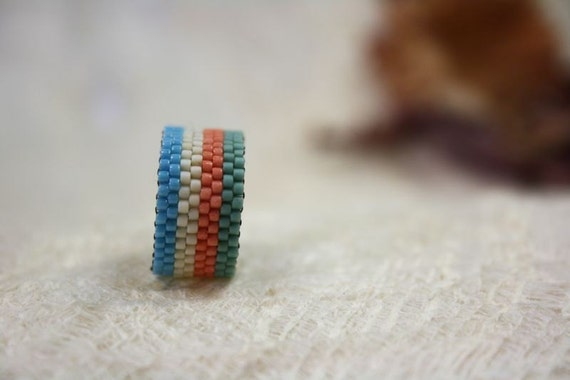 hippie style beaded ring hippie ringboho style ring seed