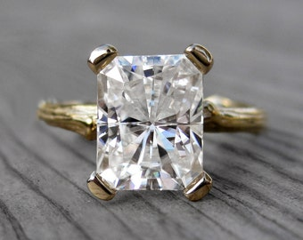 Emerald Cut Moissanite Branch Engagement Ring: White, Yellow, or Rose Gold; 2.7ct Forever Brilliant ™