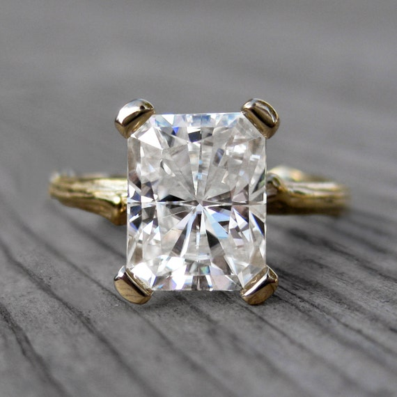 Emerald Cut Moissanite Branch Engagement Ring: White, Yellow, or Rose Gold;  2.7