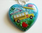 Gift for Teacher, Back to School, Fun Jewelry, Back to School necklace, handmade one of a kind school bus jewelry made by isewcute on etsy
