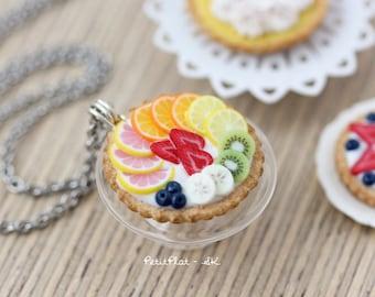 Fruit Tart Necklace - Cake Necklace - Grapefruit, Orange, Lemon, Strawberries, Blueberries