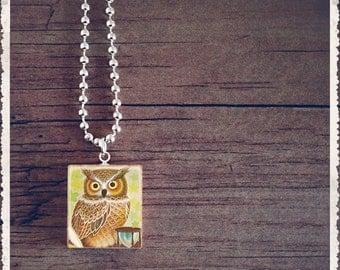 Scrabble Tile Art Pendant - Wise Owl - Scrabble Jewelry Charm - Customize - Wearable Art by Lisa Owens
