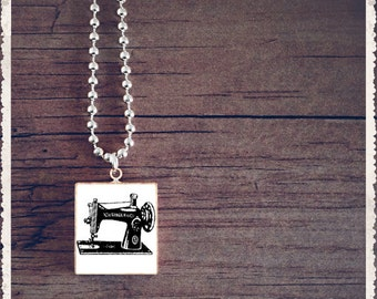 Scrabble Game Tile Jewelry - Vintage Sewing Machine Black and White - Scrabble Pendant Necklace - Customize