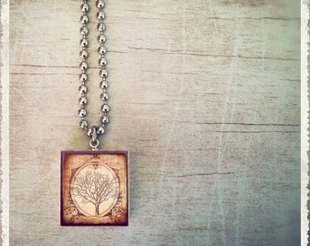 Scrabble Tile Necklace - Majestic Tree - Scrabble Art Pendan Jewelry Charm - Choose Your Style