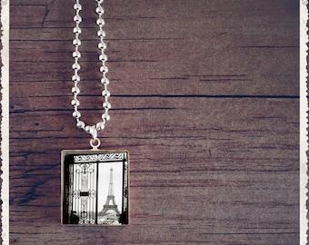 Scrabble Game Tile Jewelry - Eiffel Tower View Postcard - Scrabble Pendant Charm - Customize