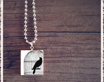Scrabble Art Pendant Necklace - Bird Cage Black - Scrabble Game Tile Jewelry - Customize - Choose Your Style