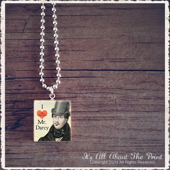 Jane Austen Scrabble Jewelry - I Love Mr Darcy - Scrabble Pendant Necklace Charm - Customize