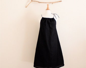 slight gathering linen halter dress knee length made to order