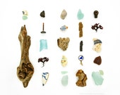 Beachcombing Series No.28, 8 x 8 photograph - Sea glass and driftwood