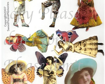 Gents, Gals, and Gypsy Fairies Digital Collage Sheet