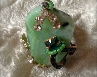 Lilygrace Mint Green Agate Slice Ring with  Brass Wire and Vintage Rhinestones