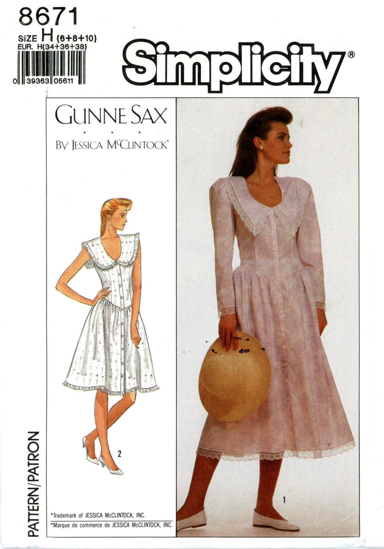 Simplicity 8671 Gunne Sax Dress by Jessica McClintock Size 6 8