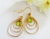 Gold Chandelier Earrings, Oval Hoop Dangles, Apple Green, Wedding Jewelry, Bridesmaid Earrings, Everyday