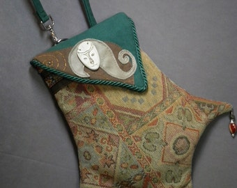 Fanciful Kitty Ceramic And Tapestry Renaissance Pocket Shoulder Bag