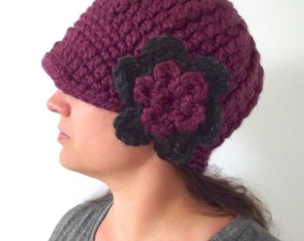 Womens Hat Womens Beanie Womens Cap Purple Hat Purple Plum Hat Chunky Crochet Flower Hat Flapper Winter Hat Fall Accessory Winter Accessory
