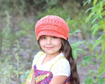 Toddler Newsboy Cap 2T to 4T Toddler Girl Newsboy Hat Toddler Hat Toddler Girl Hat Tangerine Newsboy Orange Newsboy Crochet Newsboy Buckle
