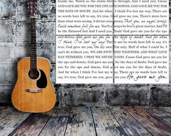 Lyrics Word Art Typography Wall Split Canvas of ONE Word Art image split (4) 12x14 canvas wall display