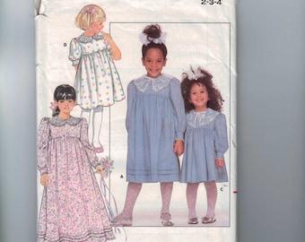 1980s Girls Sewing Pattern Butterick 5745 Girls High Waisted Dress Size 2 3 4 Breast 21 22 23 UNCUT 1987 80s