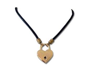Golden Desire Heart Lock Daytime Collar Submissive BDSM Slave Collar