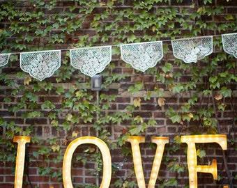 Wedding Garland - Papel Picado Banners - LAS FLORES custom color