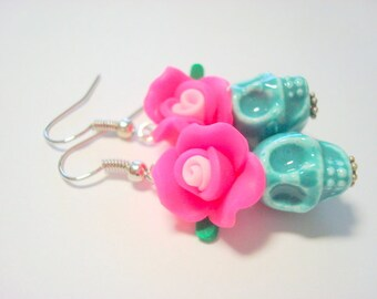 Turquoise and Pink Day of the Dead Roses and Ceramic Sugar Skull Earrings
