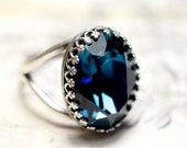 Montana Blue Victorian Style SWAROVSKI Crown Cocktail / Statement Ring Custom Size