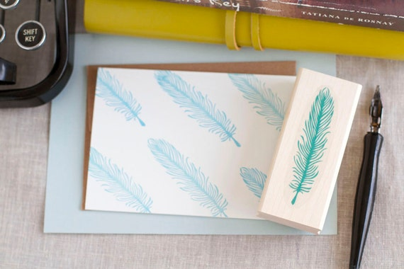 Bird Feather / Quill Rubber Stamp Wood Mounted - Great for Peacock Theme Wedding or Personal Stationery / Gift under 10